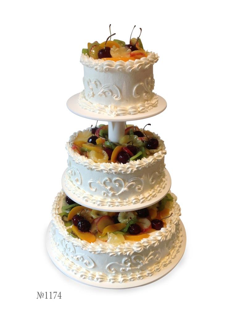 Свадебный торт со сливками на 3 яруса фото